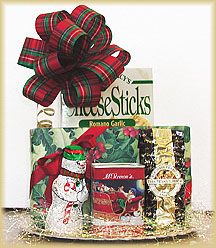 Holiday Gold Disc of Goodies - Scrumptious assorted chocolates, chunky cheese sticks, jumbo salted peanuts, Christmas cocoa, and a friendly chocolate snowman.